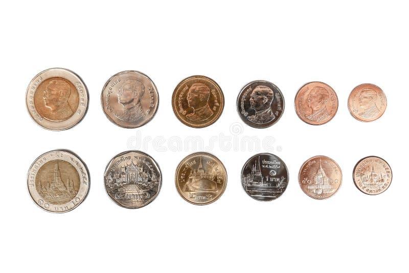 Kolekcja Tajlandzka moneta 5, 2, 1, (0) który składa się 10 50, (0) 25 baht wartości frontowa i tylna strona na doskonale odosobn obraz royalty free
