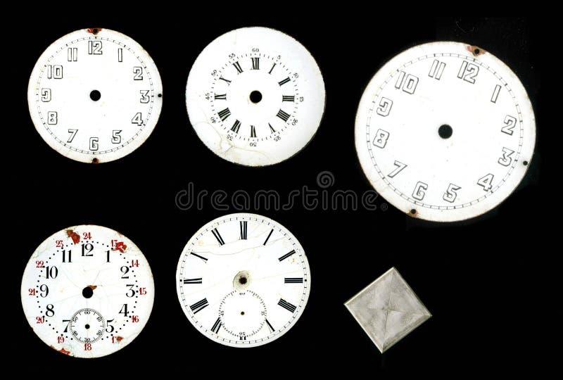 Kolekcja Tarcza stary zegar emaliujący kieszeniowi zegarki i fotografia royalty free