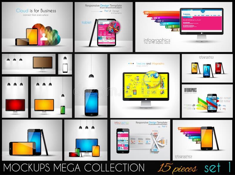 Kolekcja telefon, komputer osobisty i pastylek mockups z infographics, royalty ilustracja