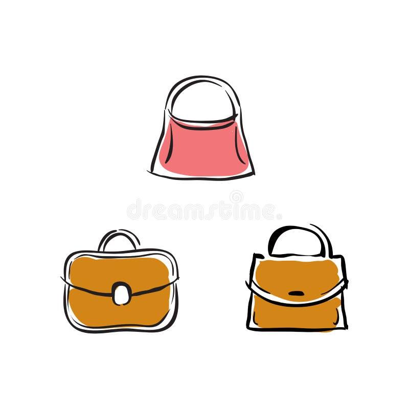 Kolekcja torebki, wektorowe akcesoria ilustracje royalty ilustracja