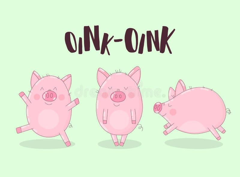 Kolekcja trzy śmiesznej świni na zielonym tle z słowem oink Wektorowa ilustracja dla nowego roku, boże narodzenia, druki, invi royalty ilustracja