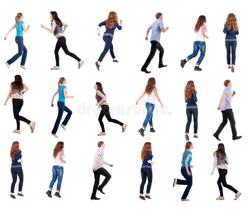 Kolekcja tylny widok bieg ludzie zdjęcie stock