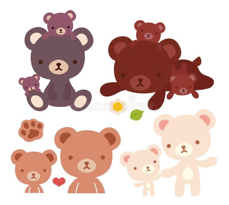 Kolekcja urocza niedźwiadkowa rodzinna doodle ikona, śliczny tata niedźwiedź, kawaii mama niedźwiedź, urocza dziecko niedźwiedzia royalty ilustracja
