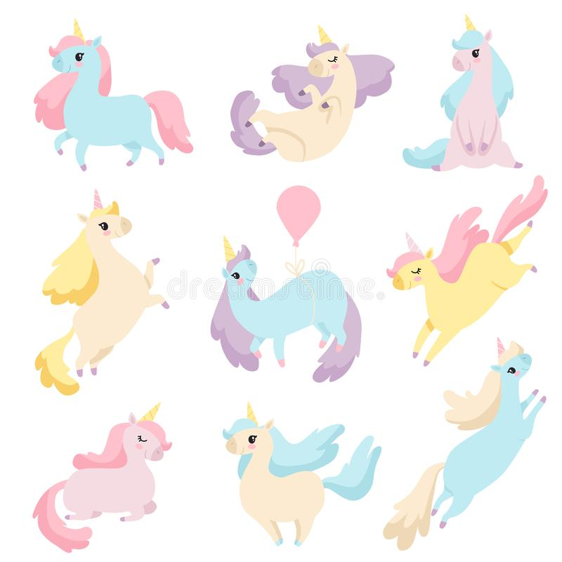 Kolekcja Urocze jednorożec, Śliczna Magiczna fantazji zwierząt wektoru ilustracja ilustracja wektor