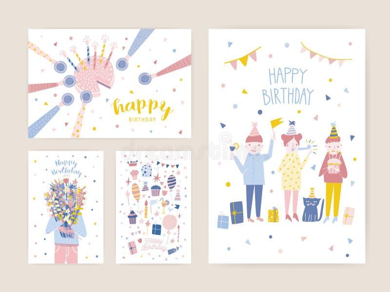 Kolekcja urodzinowi kartka z pozdrowieniami, pocztówki lub przyjęcia zaproszenia szablony z szczęśliwymi ludźmi, tort z świeczkam royalty ilustracja