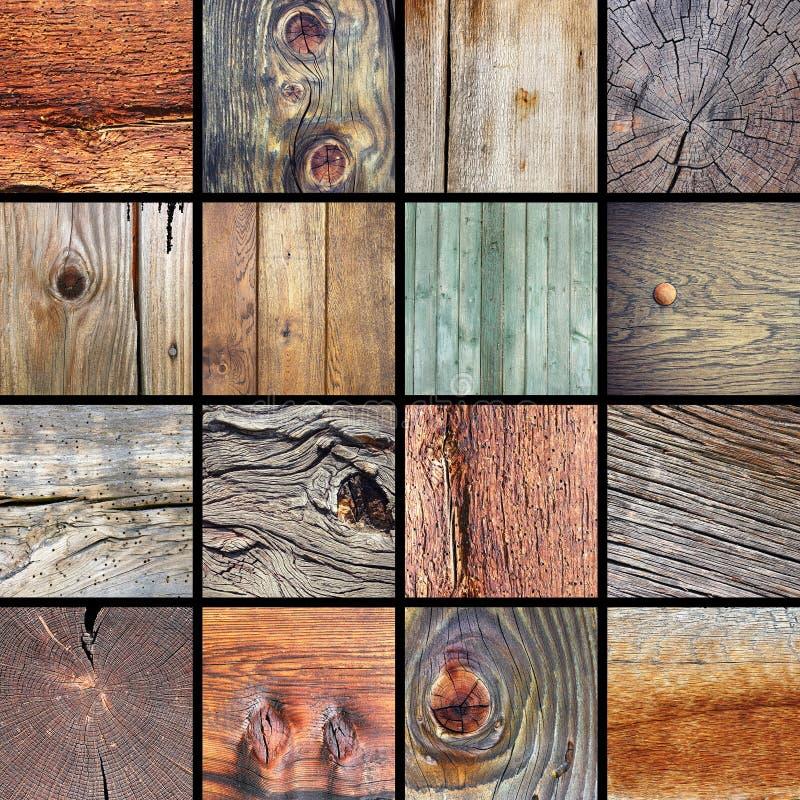 Kolekcja uszkadzać drewniane tekstury zdjęcie royalty free