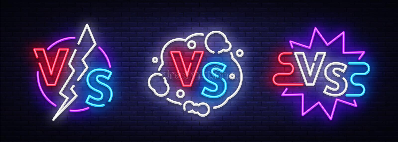 Kolekcja Versus neonowi znaki wektorowi Set Versus logo, symbol w neonowym stylu Projekta szablonu światła sztandar, noc ilustracja wektor