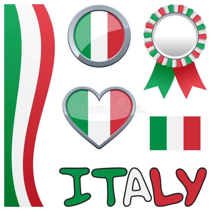 Włochy Włoski Patriotyczny set ilustracji