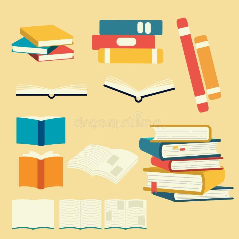 Kolekcja wektor książki set stos książka otwiera książkę i zamyka nauka mój jaźnią element książka Ok?adkowa strona noweleta mies royalty ilustracja