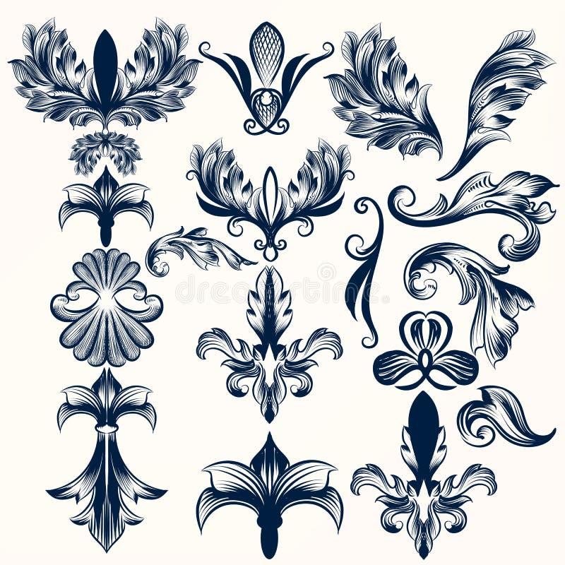 Kolekcja wektorowa ręka rysujący Fleur De Lis i zawijasy w vinta ilustracji