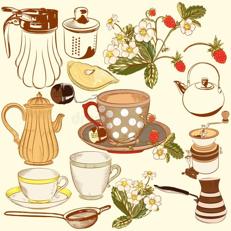 Kolekcja wektorowa ręka rysujący herbaciani i kawowi akcesoria dla d ilustracji