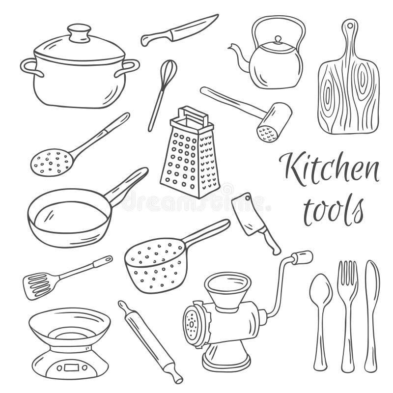 Kolekcja wektorowa ręka rysujący kuchni narzędzia ilustracji