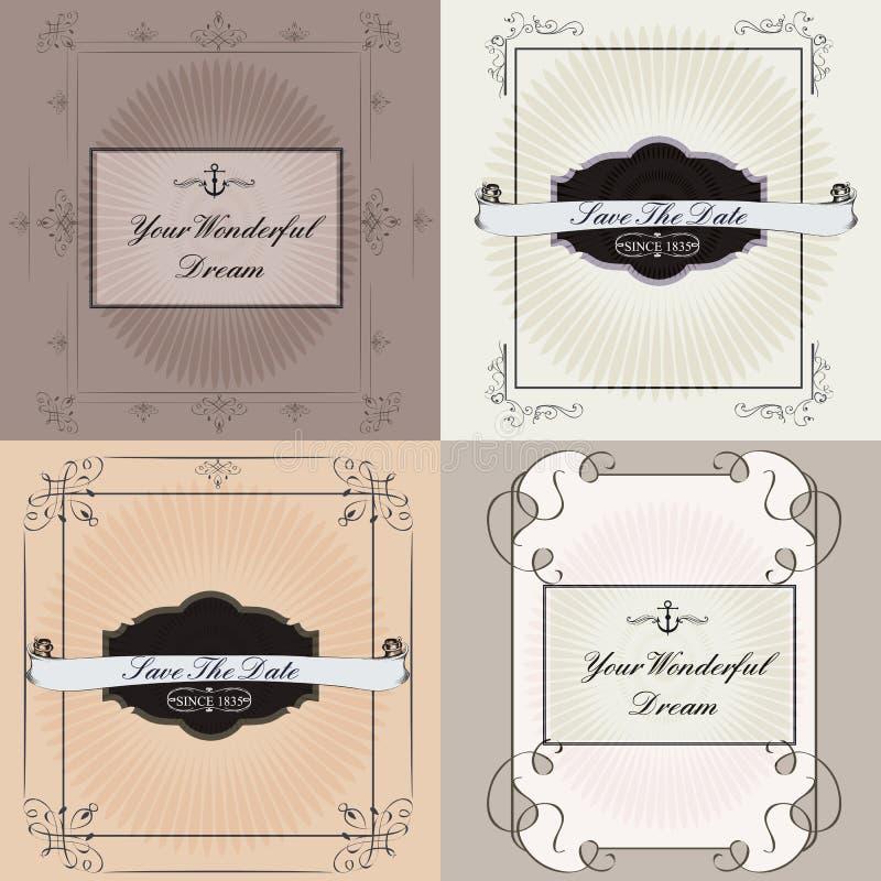 Kolekcja wektorowe zaproszenie karty royalty ilustracja