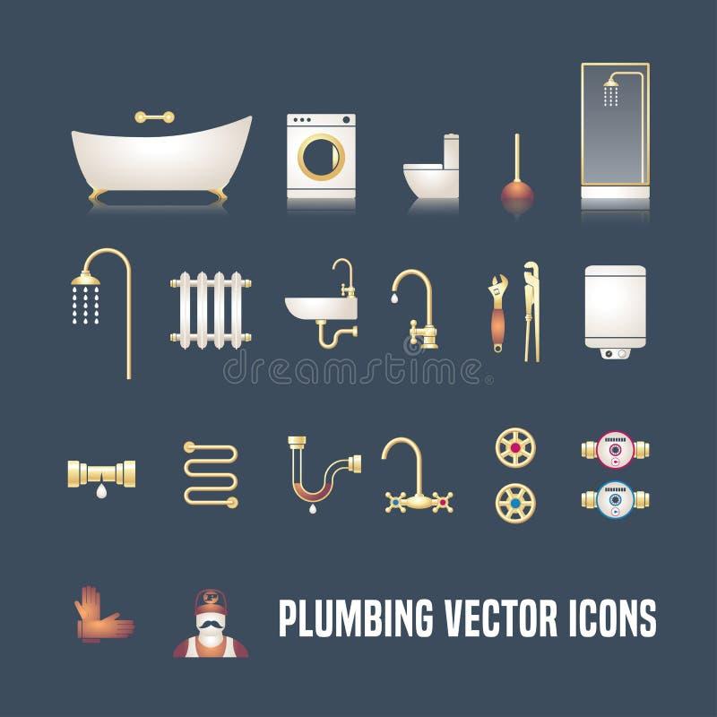 Kolekcja wektorowi instalacja wodnokanalizacyjna symboli/lów przedmioty ilustracji