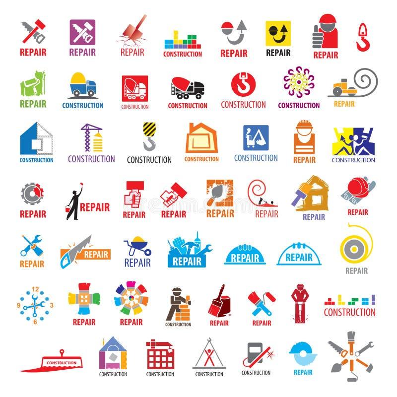 Kolekcja wektorowi logowie budowa i naprawa ilustracji