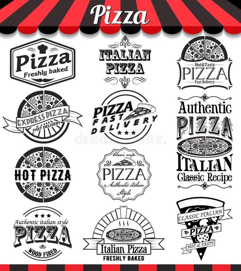 Kolekcja wektorowi pizza znaki, symbole i ikony, Wektorowy pizz odznak etykietek i majcherów jedzenia set royalty ilustracja