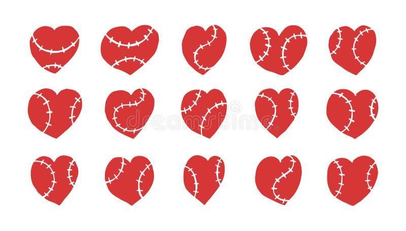 Kolekcja wektorowi serca dla baseballa odizolowywającego Wręcza rysunek, nakreślenie elementy dla projekta dla walentynka dnia royalty ilustracja