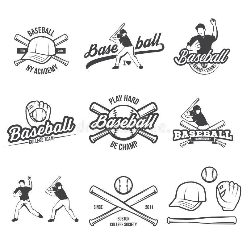 Kolekcja Wektorowy baseballa logo, insygnie i, przedstawiająca z setem baseballa wyposażenia ilustracje royalty ilustracja