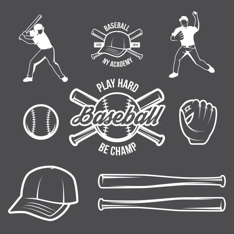 Kolekcja Wektorowy baseballa logo, insygnie i, przedstawiająca z setem baseballa wyposażenia ilustracje ilustracja wektor