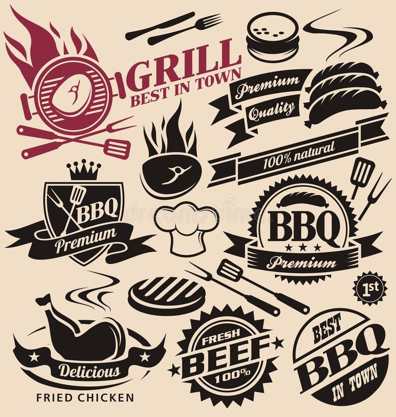 Kolekcja wektorowy grill podpisuje, symbole, etykietki i ikony, ilustracja wektor