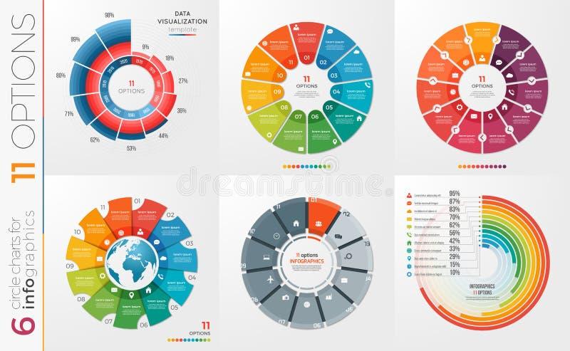 Kolekcja 6 wektorowych okrąg mapy szablonów 11 opcja royalty ilustracja