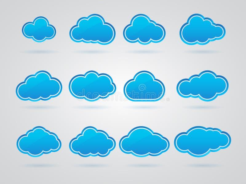 Download Kolekcja Wiele Błękitne Chmury Ilustracji - Ilustracja złożonej z błyszczący, krzywa: 28950774
