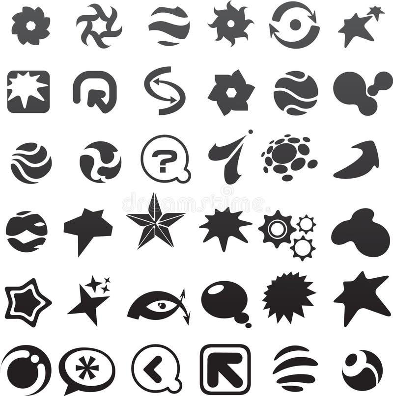kolekcja wiele czarny abstrakcjonistyczne ikony - 6 ilustracji