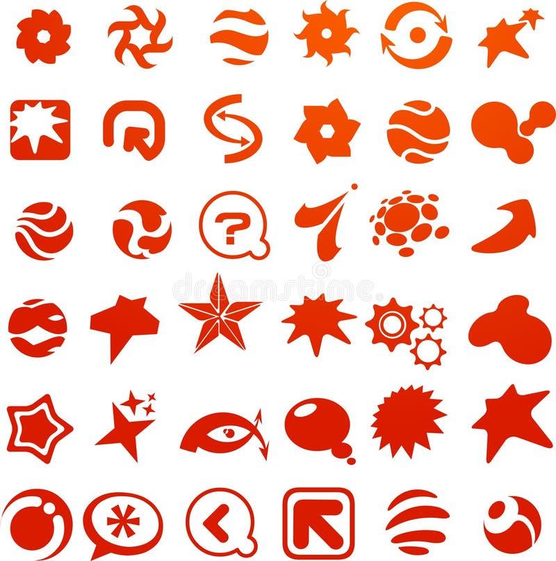 Kolekcja wiele czerwona abstrakcjonistyczna ikona ilustracja wektor