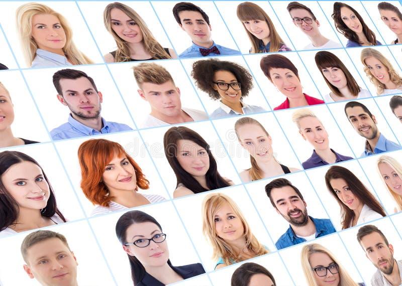 Kolekcja wiele ludzie biznesu portretów nad bielem fotografia stock