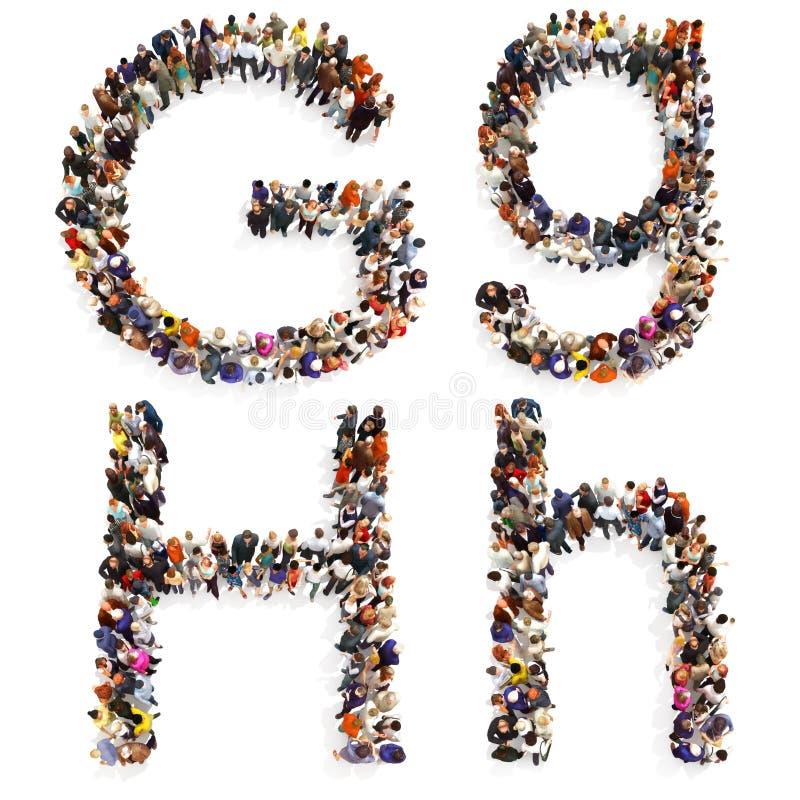 Kolekcja wielka grupa ludzi tworzy list G, H w i ilustracji