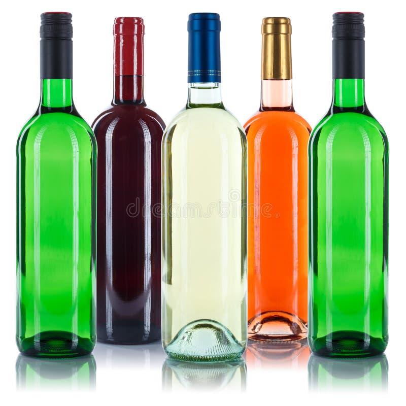 Kolekcja wino butelek bielu kolorowa czerwona róża odizolowywająca na w fotografia stock