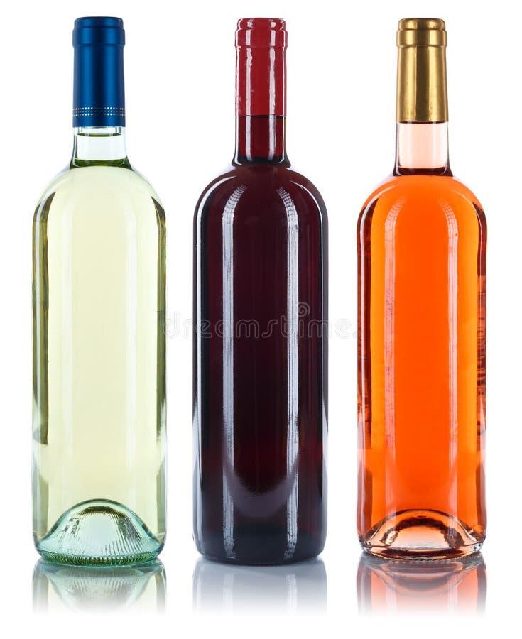 Kolekcja wino butelek win czerwieni bielu róża odizolowywająca na whit fotografia stock