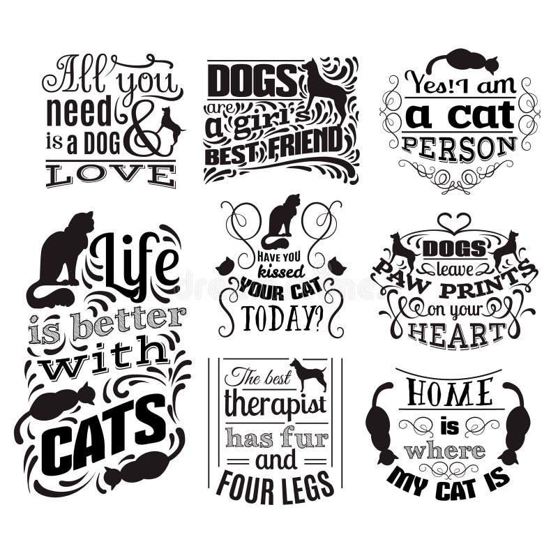 Kolekcja wycena typographical tło o kotach i psach royalty ilustracja