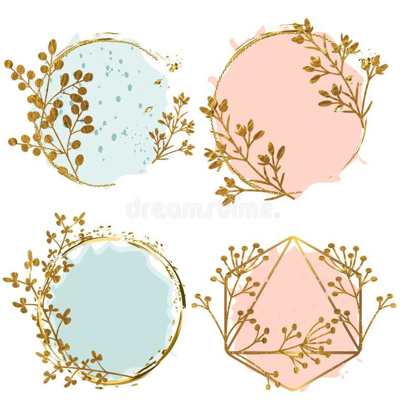 Kolekcja złote artystyczne geometryczne ramy w kwiecistym stylu ilustracja wektor