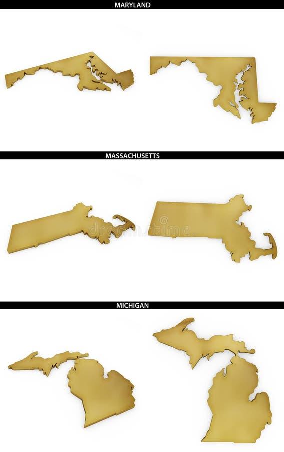 Kolekcja złoci kształty od USA amerykańskich stanów Maryland, Massachusetts, Michigan ilustracja wektor