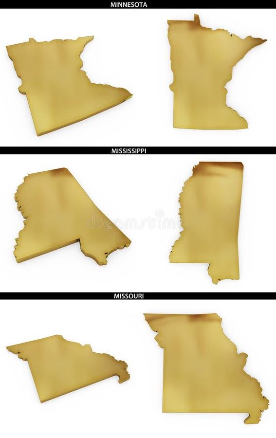 Kolekcja złoci kształty od USA amerykańskich stanów Minnestoa, Mississippi, Missouri royalty ilustracja