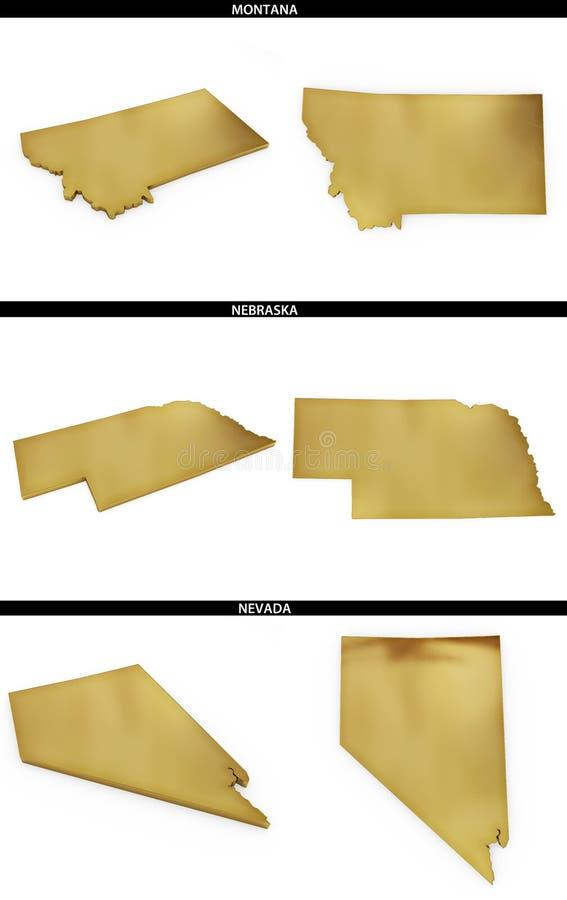 Kolekcja złoci kształty od USA amerykańskich stanów Montana, Nebraska, Nevada ilustracji