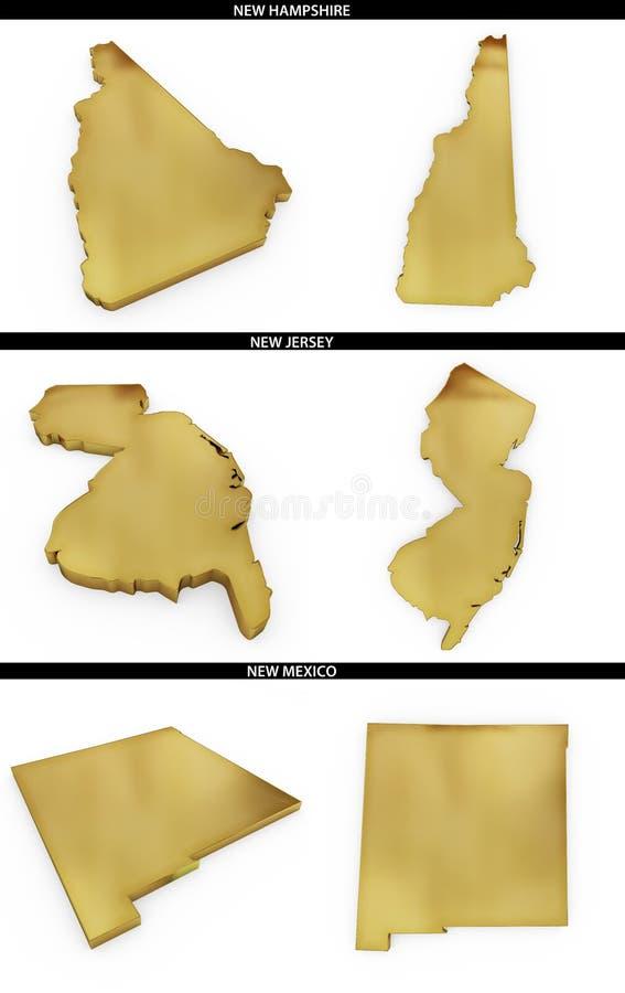 Kolekcja złoci kształty od USA amerykańskich stanów New Hampshire, Nowy Mexico - bydło, Nowy - ilustracja wektor