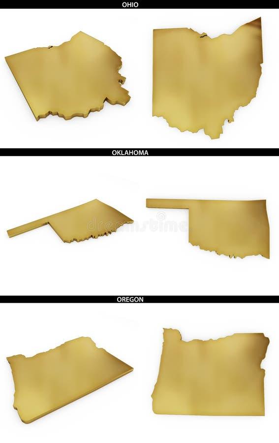 Kolekcja złoci kształty od USA amerykańskich stanów Ohio, Oklahoma, Oregon royalty ilustracja