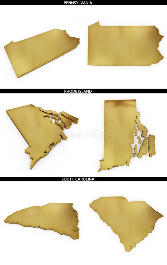 Kolekcja złoci kształty od USA amerykańskich stanów Pennsylwania, Rhode - wyspa, Południowa Karolina ilustracji