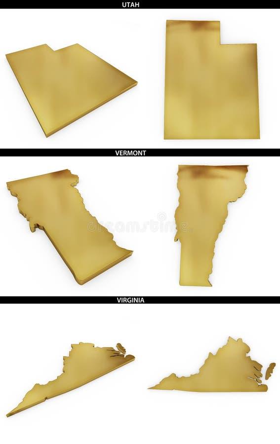 Kolekcja złoci kształty od USA amerykańskich stanów Utah, Vermont, Virginia ilustracja wektor