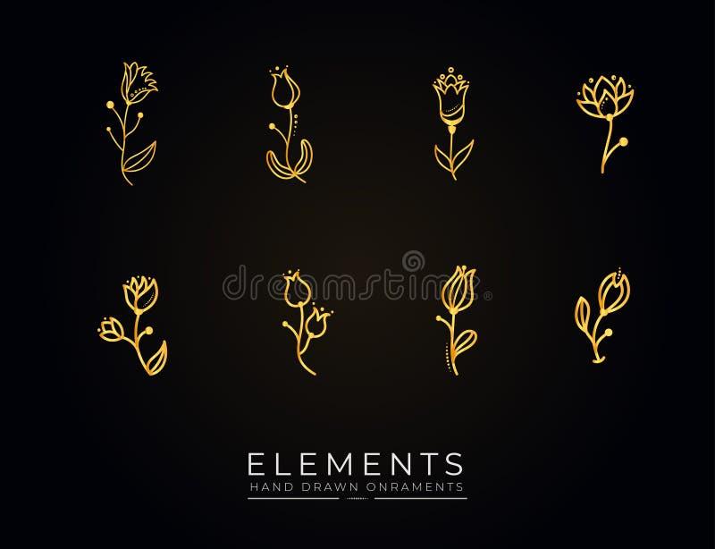 Kolekcja złotych elementów naręcznych ilustracji