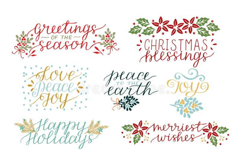 Kolekcja z 7 Wakacyjnymi kartami robić wręcza literowań bożych narodzeń błogosławieństwa Miłość, pokój, radość Wesoło życzenia royalty ilustracja