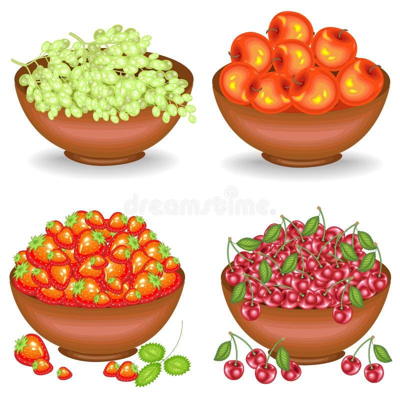 Kolekcja Zbierał bogatego żniwo W pucharach dojrzała soczysta owoc pełno Świezi winogrona, wiśnie, jabłka, truskawki, źródło ilustracja wektor