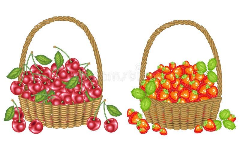 Kolekcja Zbiera? ?niwa wielkodusznych kosze dojrza?e soczyste jagody pe?no ?wie?e pi?kne truskawki i wi?nie, ?r?d?o ilustracja wektor