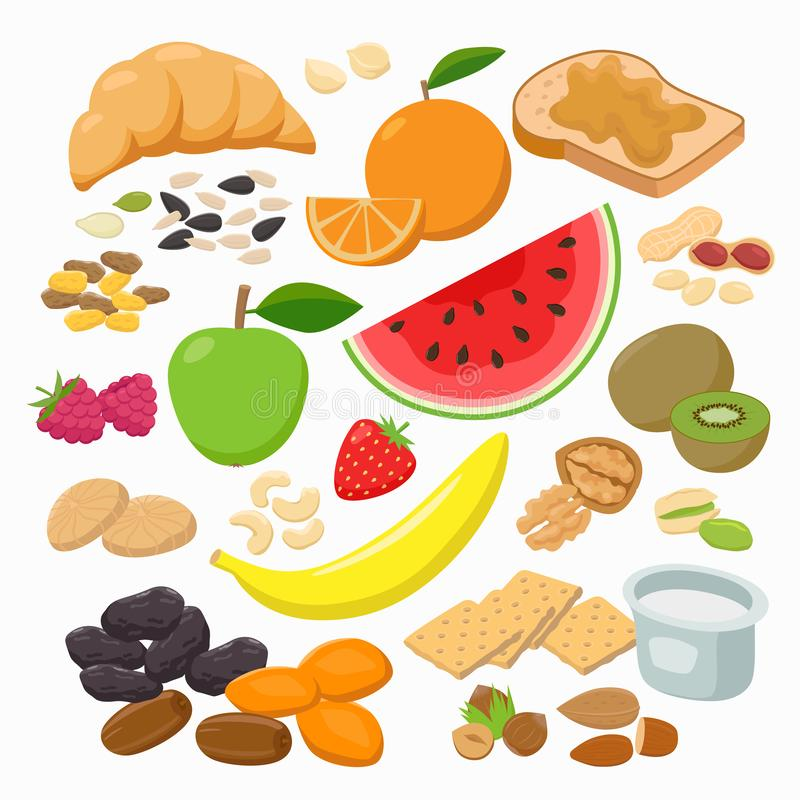 Kolekcja zdrowe przekąski odizolowywać na białym tle Zdrowych foods Wektorowa ilustracja w płaskim projekcie ilustracji
