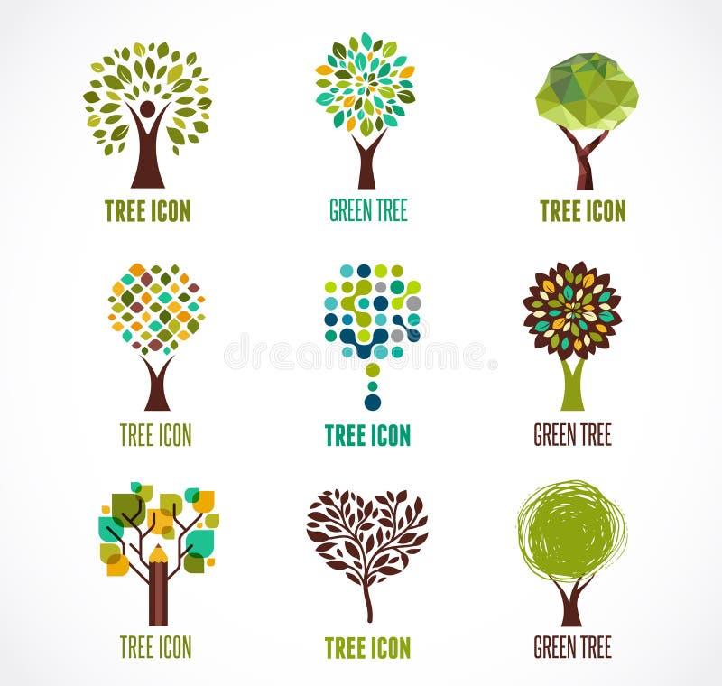 Kolekcja zielony drzewo - logowie i ikony ilustracja wektor