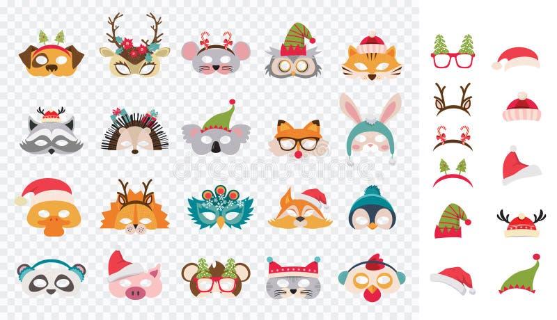 Kolekcja zimy zwierzęcia maski i Bożenarodzeniowi fotografii budka wsparcia dla dzieciaków Śliczne kreskówek maski, elementy dla  ilustracja wektor