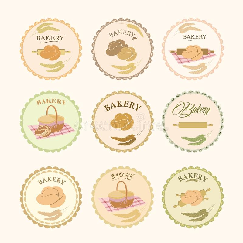 Kolekcje piekarnia projekta elementy Set piekarni ikony, logowie, etykietki, odznaki royalty ilustracja