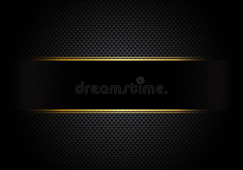 Kolfiberbakgrund och textur och belysning med den svarta etiketten och den guld- linjen Lyxig stil Materiell tapet för att trimma royaltyfri illustrationer